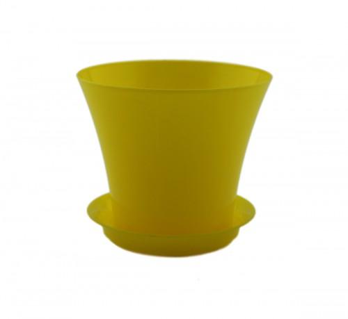 Сити Желтый -  горшок с поддоном для фиалок и суккулентов