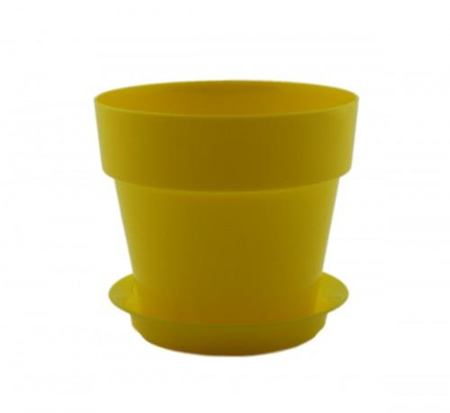 Протея Желтая -  горшок с поддоном для фиалок и суккулентов